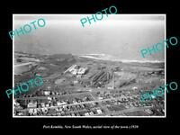 OLD LARGE HISTORIC PHOTO OF PORT KEMBLA NSW, AERIAL VIEW OF THE TOWN c1920 1