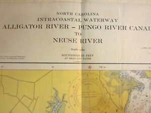 US Coast & Geodetic Survey Chart  Intracoastal Waterway North Carolina  1954