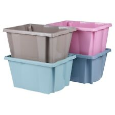 4 x Plastic Stackable Storage Boxes Set Sturdy Quality Containers Toys Coloured