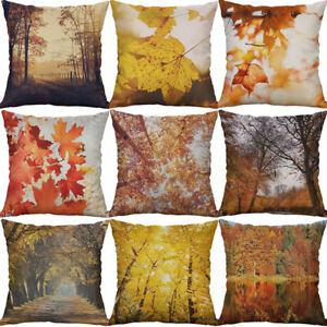 Cotton Linen printing autumn forest Leaf Pillow Case Cushion Home D¨¦cor Cover