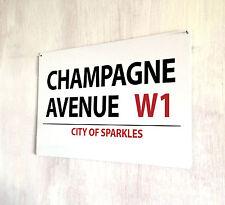 Champagne Avenue bebidas Cocktails Letrero De Calle A4 Placa De Metal Shabby Chic