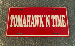 TOMAHAWK'N TIME License Plate! Dated 1993 Metal Embossed Atlanta Braves Obsolete
