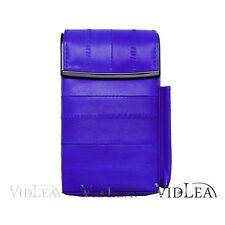 Genuine EEL SKIN Leather CIGARETTE Holder Hard Case POP UP Purple
