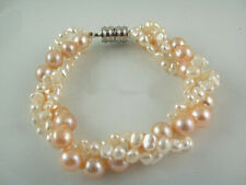 3 Rows Multicolor Pink White Genuine Pearl 18KWGP Magnet Clasp Bangle Bracelet