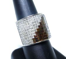 Mens 14k White Gold White & Red Princess Cut Colored Diamond Ring 5.00ct
