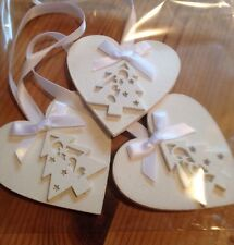 3 X Handmade Christmas Decorations Shabby Chic Christmas Tree White