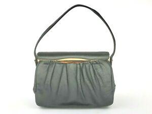 Vintage Etra Black Leather Purse Evening Handbag w/Gold Trim