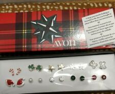 Avon Christmas Earrings Set Gold Silver tone Bells Candy Canes Snowflakes