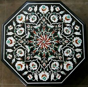 18 Inches Black Marble Coffee Table Top Inlay Floral Pattern Corner