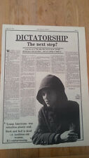 DAVID BOWIE dictator 1975 2 page  UK ARTICLE / clipping