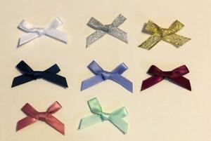 Small Approx 3cm Wide Pre-Tied Bows (7mm Satin Ribbon) Crafts Wedding