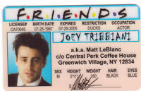 Joey of the FRIENDS Matt leBlanc .. plastic ID card Drivers License -