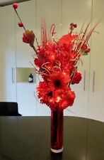 Wedding Red Artificial Bouquet in Glass Vase 20 LED Lights Weddings Conservatory