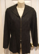 new pkg $79 charcoal gray fitted zipper front pinstripe jacket 4 petite