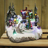Christmas Winter Village Scene Ornaments Musical LED Moving Xmas Decoration