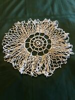 "Vintage Hand Crocheted White Doily 13""."
