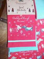 Set of 3 Holiday Dachshund Through the Snow Kitchen Dog Towels Christmas NEW