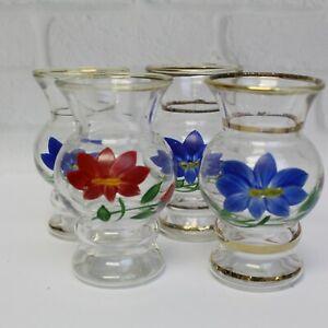 """(4) Vintage 1950s Bartlett Collins Hand Painted Vases Floral Gold Bands 4"""""""