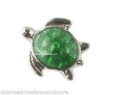 Green Tropical Marine Sea Turtle Floating Charm For Memory Lockets