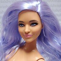 B20~NUDE BARBIE FASHIONISTA 157 LAVENDER HAIR DIMPLES CURVY MATTEL DOLL FOR OOAK