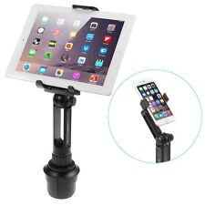 Adjustable 2-in-1 Cup Mount Holder Car Kit For iPhone iPad HTC Smartphone Tablet