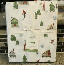 "New Pottery Barn Holiday Christmas SKI LODGE SHOWER CURTAIN - Cotton - 72""x72"""