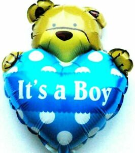 Kein Helium Ballon! Folienballon Baby Party Bärchen Junge Geburt Shower NEU