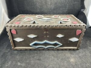"""ANTIQUE FOLK ART TRAMP ART BOX 7"""" 13"""" X 5 1/2"""" ORIGINAL PAINT"""