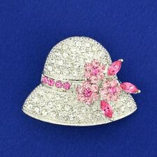 Made With Swarovski Crystal Clear Pink Wedding Bridal Hat Floral Brooch Pin Gift