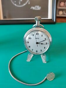 Vintage 1975 Smiths Sweeper Pocket Watch In Working Order With Button Fob Chain.