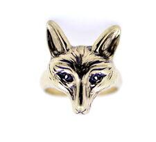 vintage retro style gold coloured fox charm ring, UK size K