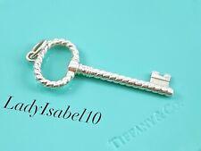 "Tiffany & Co Sterling Silver Twist Charm Oval Key 1.7"" Charm Pendant w Pouch 20C"
