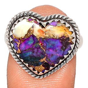 Heart - New Oyster Purple Turquoise 925 Sterling Silver Ring Jewelry s.9 BR86802