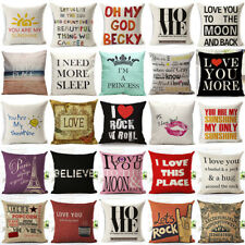 Letters Quote Words Pillowcase Cotton Linen Sofa Waist Cushion Cover Home Decor