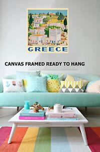 Art Print Vintage Greece island Greek village travel painting Canvas framed