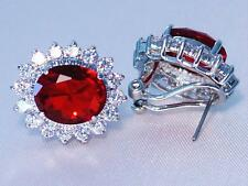 Cubic Zirconia Pierced White Gold Plated Earrings Ruby Red Simulated