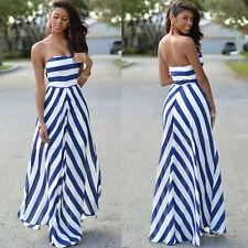Womens Maxi Boho Dress Striped Summer Beach Cocktail Evening Party Long Sundress