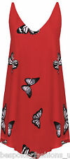 Ladies Women's Plus Size Butterfly Print Sleeveless DIP Hem Lined Vest Top 14-28 Red 22-24