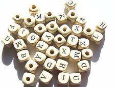 50 Grams Cream Ivory About 100 Natural Wood Cubic Letter Beads 10x10x10 Mm Cubes