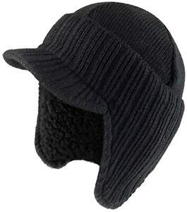Rock Jock Peaked Beanie Hat In Black Rib Knit Fur Lined Winter Cap