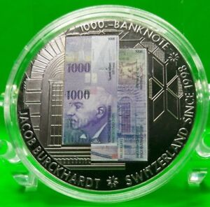 1000 FRANCS SWISS BANKNOTE COMMEMORATIVE COIN VALUE $59.95