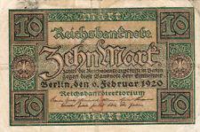 Billet banque ALLEMAGNE GERMANY 10 MARK 1920 état voir scan 651