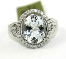 Oval Aquamarine & Diamond Halo Solitaire Lady's Ring 14k White Gold 3.30Ct