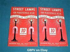 New ListingGbpv - 4 Scarce Unbroken Black Plasticville Street Lamps Moc W/Glow In Dk Globes