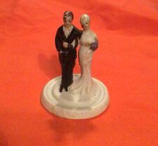 "Vintage Antique 1930's Wedding Cake Topper Chalkware Bisque Bride Groom ""Our Wed"
