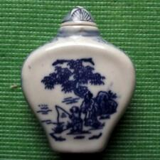 Old Blue and White Pottery Chinese Japanese Snuff Perfume Bottle Fired Glaze K