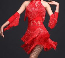 Womens Latin Dancing Fashion Mini Slim Fit Shiny Tassels Sleeveless Dresses New