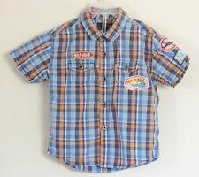 TOMMY HILFIGER Boys Size 4T Blue Button Up Plaid Short Sleeve Shirt