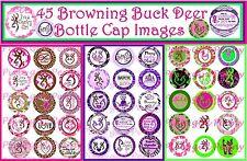 """45 Precut Browning Buck Deer Pink/Brown, Pink/Green Purple Bottle 1"""" Cap Images"""
