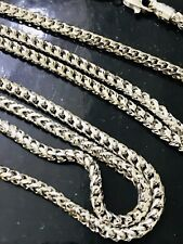 18K Solid White gold Franco  chain Necklace 26 inch 27.10 gram lobster clasp